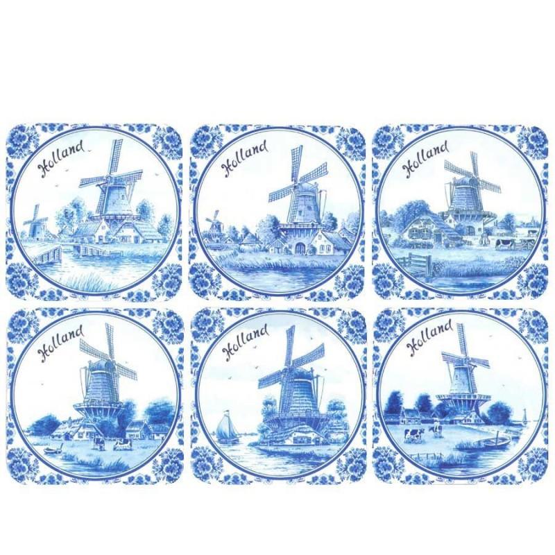 Coasters Delft Blue Holland - Cork Coasters - set of 6 assorti