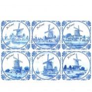 Onderzetters Delft Blue Holland - Kurk Onderzetters - 6 assorti