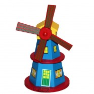 Wooden Windmill Blue 16cm