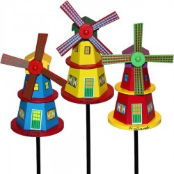 Wooden Windmill Yellow 16cm