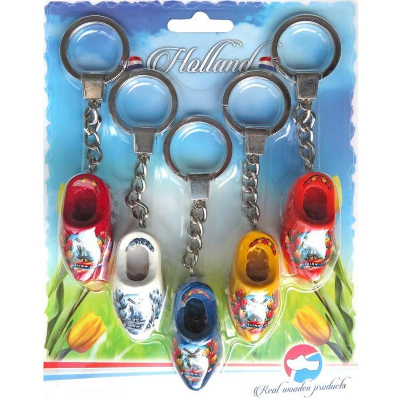 Houten Klompen 5 sleutelhangers 1 klomp 4cm
