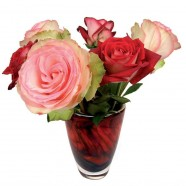 Flat Flower - Red and Pink Roses