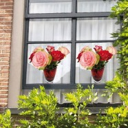 Flat Flowers - Originals Window Stickers Roses - Red and Pink