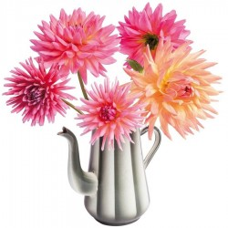 Flat Flowers - Originals Window Stickers Dahlia in Coffeepot