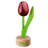 Tulip Pedestal Red Aubergine - Wooden Tulip on Pedestal 11.5cm