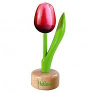 Tulip Pedestal Red White - Wooden Tulip on Pedestal 11.5cm