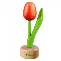 Tulp op voet Oranje Rood - Houten Tulip op voet 11.5cm