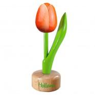 Oranje Wit - Houten Tulip op voet 11.5cm