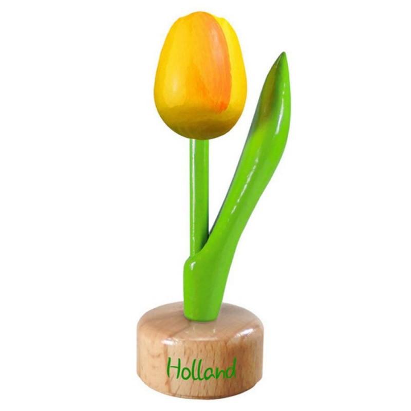 Tulp op voet Geel Oranje - Houten Tulip op voet 11.5cm
