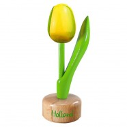 Yellow Green - Wooden Tulip on Pedestal 11.5cm