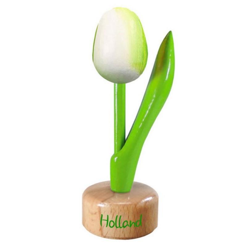 Wit Groen - Houten Tulip op voet 11.5cm