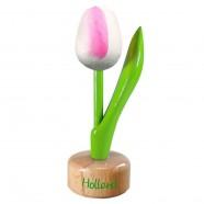 Tulp op voet Wit Roze - Houten Tulip op voet 11.5cm