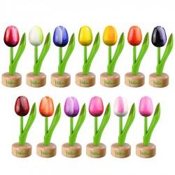 Tulip Pedestal Pink White - Wooden Tulip on Pedestal 11.5cm