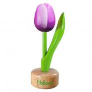 Purple White - Wooden Tulip on Pedestal 11.5cm