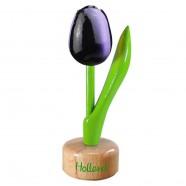 Aubergine White - Wooden Tulip on Pedestal 11.5cm