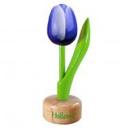 Tulp op voet Blauw Wit - Houten Tulip op voet 11.5cm