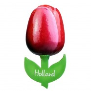Red White - Wooden Tulip Magnet 6cm