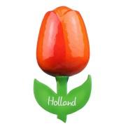 Tulp Magneten Oranje Rood - Houten Tulp Magneet 6cm