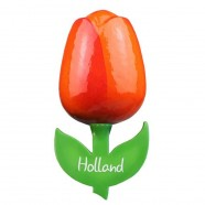 Oranje Rood - Houten Tulp Magneet 6cm