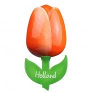 Oranje Wit - Houten Tulp Magneet 6cm