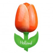 Tulip Magnets Orange White - Wooden Tulip Magnet 6cm
