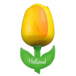 Yellow Orange - Wooden Tulip Magnet 6cm