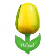 Yellow Green - Wooden Tulip Magnet 6cm
