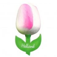 White Pink - Wooden Tulip Magnet 6cm