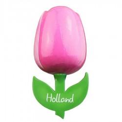 Roze Wit - Houten Tulp Magneet 6cm