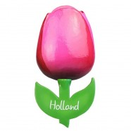 Roze Rood - Houten Tulp Magneet 6cm