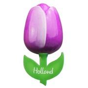 Tulip Magnets Purple White - Wooden Tulip Magnet 6cm