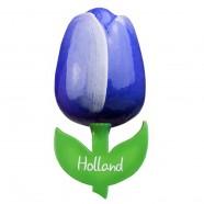 Blue White - Wooden Tulip Magnet 6cm