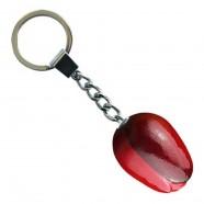 Rood Aubergine - Houten Tulp Sleutelhanger 3.5cm