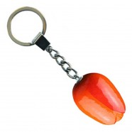 Tulip Keychain Orange Red - Wooden Tulip Keychain 3.5cm