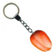 Oranje Wit - Houten Tulp Sleutelhanger 3.5cm