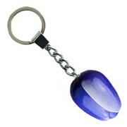 Tulip Keychain Blue White - Wooden Tulip Keychain 3.5cm
