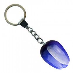 Blauw Wit - Houten Tulp Sleutelhanger 3.5cm
