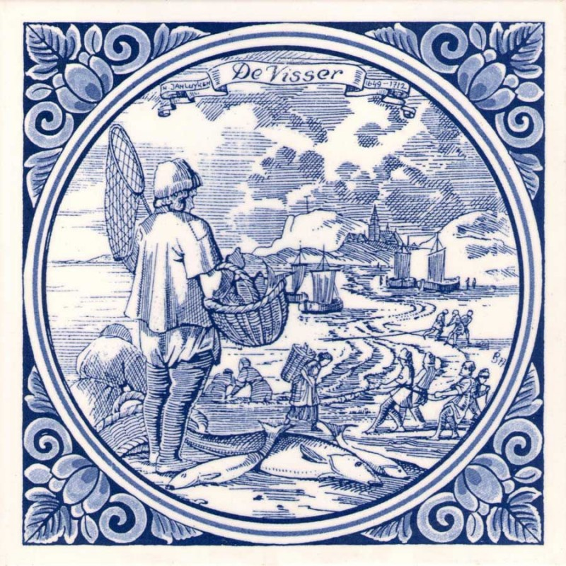 The Fisherman - Jan Luyken professions tile - Delft Blue