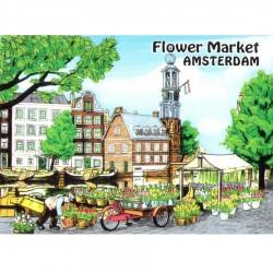 Bloemenmarkt Amsterdam - Platte Magneet