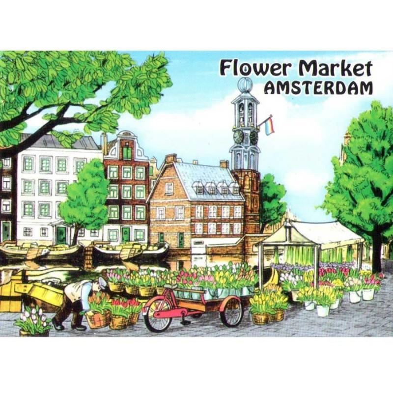 Flowermarket Amsterdam - Flat Magnet