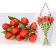 Houten Tulpen OranjeRood - Boeket Houten Tulpen
