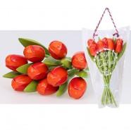OrangeRed - Bunch Wooden Tulips