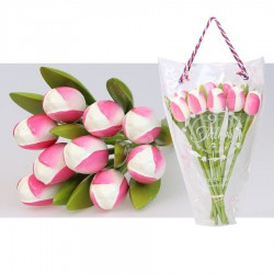 White Pink - Bunch Wooden Tulips