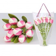 Wooden Tulips WhitePink - Bunch Wooden Tulips
