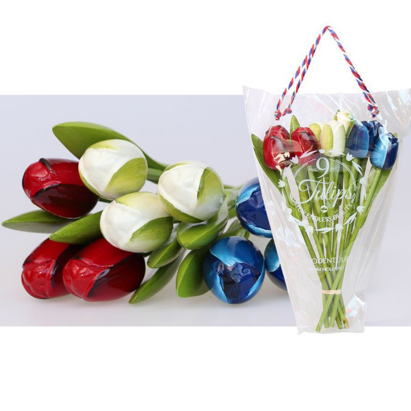 Wooden Tulips Red-White-Blue - Bunch Wooden Tulips