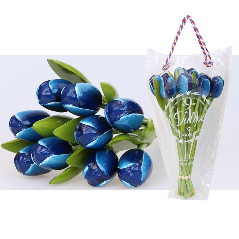 Blue White - Bunch Wooden Tulips