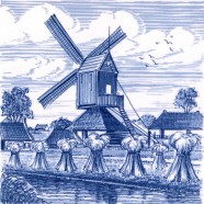 Tiles Windmill Hay Bale - Tile 15x15 cm