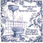 Tegels Spreuk Keep me clean - Tegel 15x15 cm