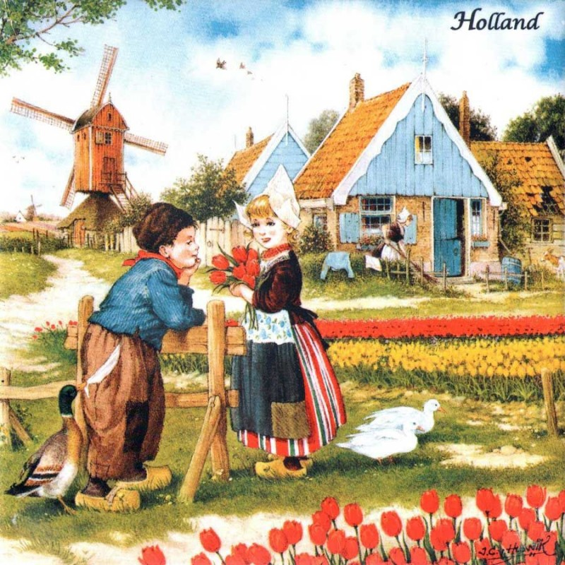 Tulipgirl and boy - Tile 15x15cm - Color