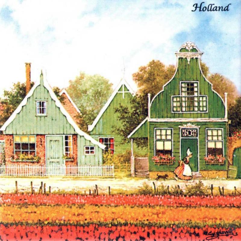 Gekleurd Keramiek Tulpenveld - Tegel 15x15 cm - Kleur